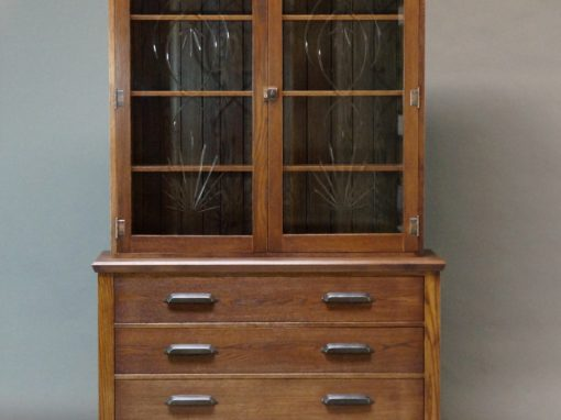 Oak Hutch and Reclaimed Glass