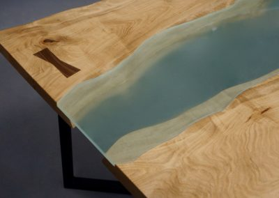 Maple and Glass Slab Dining Table