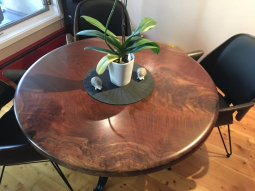 Claro Walnut Round Slab Dining Table